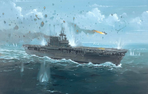 Picture figure, art, the carrier, shots, WW2, US NAVY, caps breaks, 24 Aug 1942, a reflection …