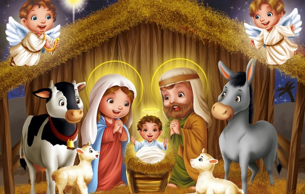 Picture night, star, sheep, child, cow, angels, art, hay, sheep, donkey, Christmas, lamb, the cradle