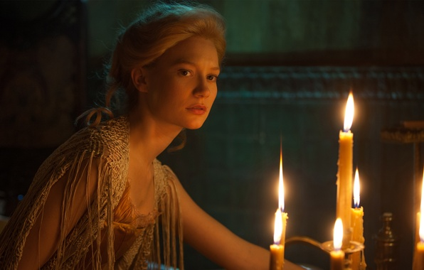 Picture fire, frame, candles, fantasy, blonde, twilight, MIA Wasikowska, Crimson Peak, Crimson peak, Edith Cushing, MIA …