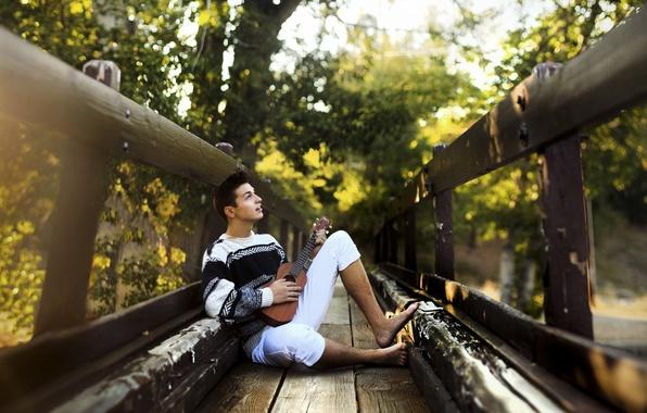 Picture bridge, music, guitar, guy