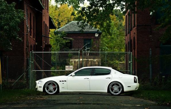 Picture Maserati, Quattroporte, Auto, White, House, Machine, Street, The building, Sedan, Overcast