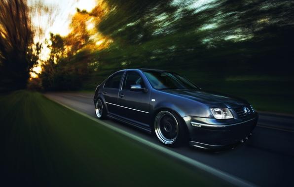 Picture grey, tuning, speed, volkswagen, Volkswagen, stance, jetta, MK4, Jetta