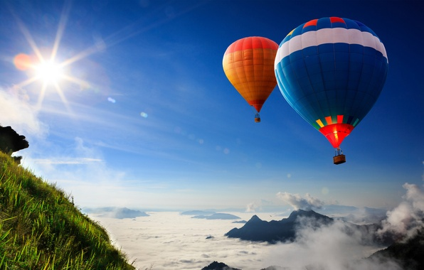 Picture grass, the sun, flight, balloons, slope, in the sky
