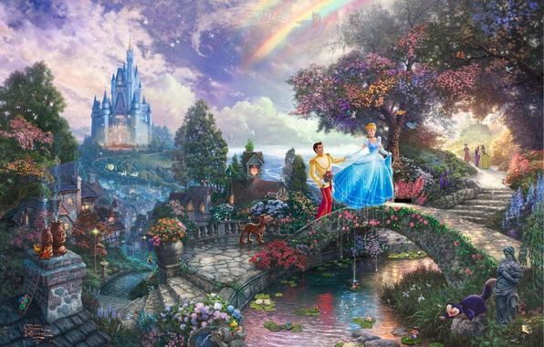 Picture castle, tale, fairy, Prince, painting, the bridge, bridge, art, Thomas Kinkade, painting, castle, Cinderella, Walt …
