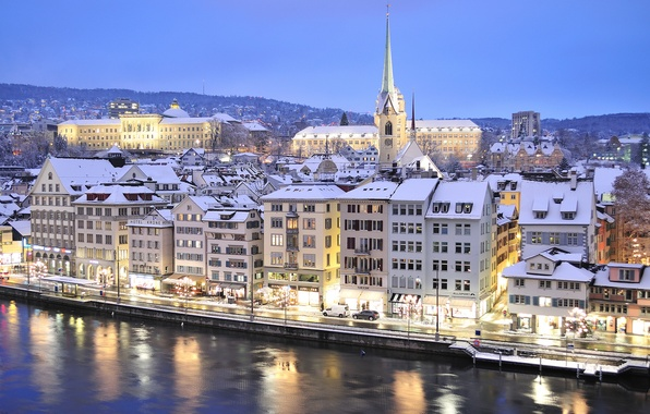 Picture winter, the sky, snow, mountains, lights, river, home, the evening, Switzerland, Zurich