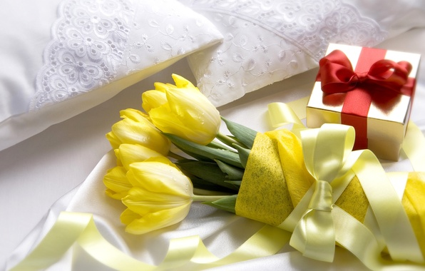Picture flowers, gift, bouquet, yellow, tape, tulips, box