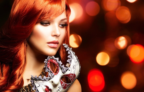 Picture look, girl, decoration, eyelashes, background, hair, lights, makeup, mask, red