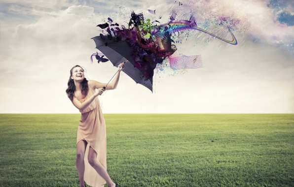 Picture girl, clouds, joy, abstraction, lawn, laughter, umbrella, dress, shoes, brown hair