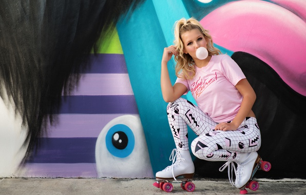Picture look, girl, style, background, graffiti, videos, cutie, chewing gum