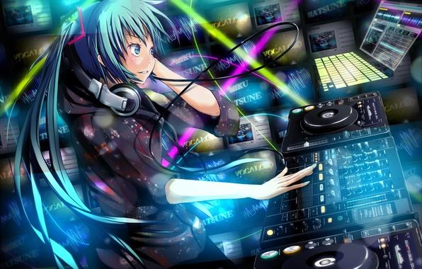 Picture girl, music, headphones, vocaloid, hatsune miku, Vocaloid, Studio