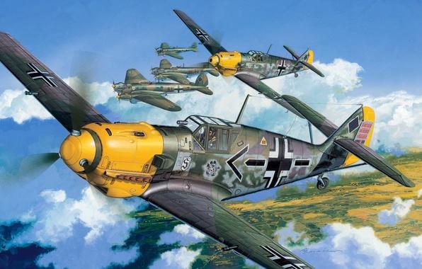 Picture the plane, figure, the second world, Me-109, Air force, Luftwaffe, Messerschmitt, messerschmitt, Bf -109 Е-4, …
