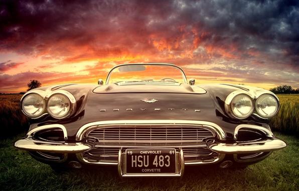 Picture car, machine, sunset, corvette, rarity, classic, chrome, chrevrolet