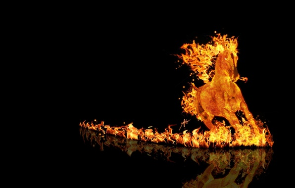 Picture fire, horse, running