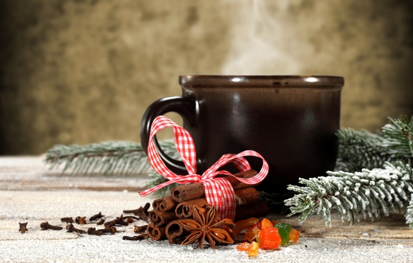 Picture winter, snow, spruce, branch, sticks, Cup, cinnamon, holidays, spices, star anise, Anis
