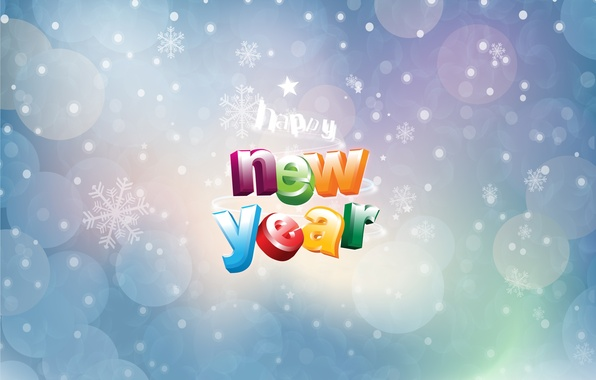 Picture circles, snowflakes, background, the inscription, happy new year, congratulations, Christmas Wallpaper