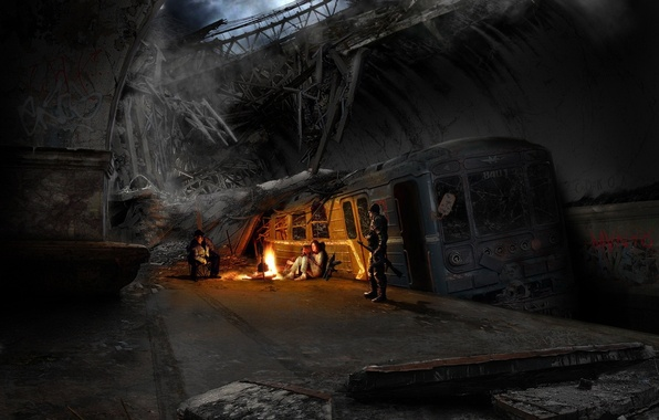 Picture train, the evening, the fire, Metro 2033
