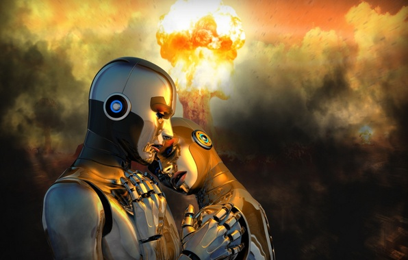 Picture background, war, robots