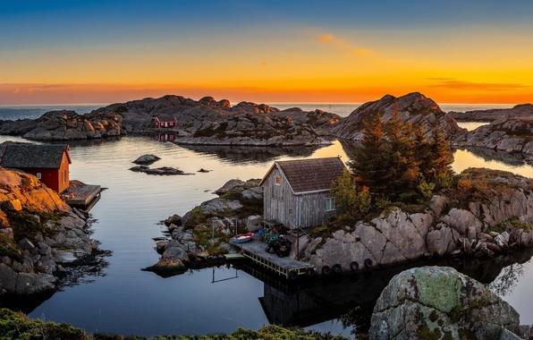 Picture sea, the sky, sunset, stones, shore, horizon, Norway, houses, Rogaland, Bjerkreim