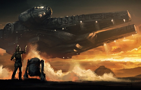 Picture star wars, Star wars, art, millenium falcon, 2015, droid, The Force Awakens, Episode VII, The …
