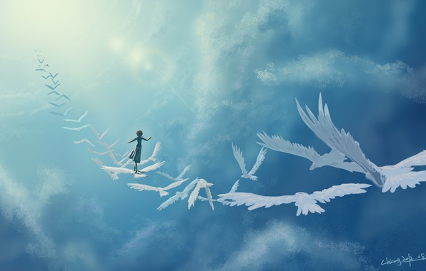 Picture girl, clouds, birds, fantasy, art, in the sky
