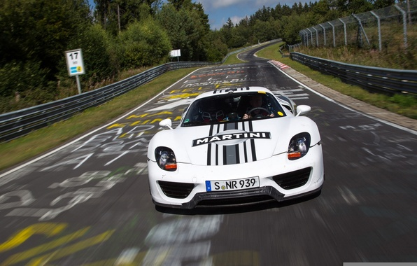 Picture white, background, Prototype, Porsche, prototype, Porsche, Spyder, 918, racing track, the front, Spider, Nurburgring, Nürburgring