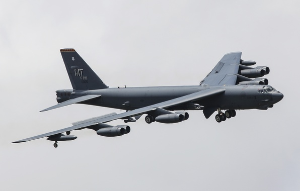 Photo wallpaper strategic, bombardirovshik, B-52H, heavy, flight, Boeing, STRATO fortress