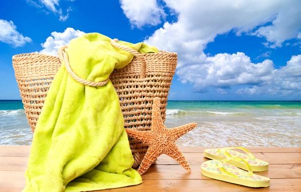 Picture sea, beach, summer, the sun, stay, summer, beach, vacation, sea, sun, bag, vacation, starfish, towel, …
