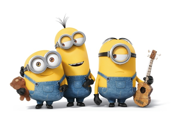 Picture toy, cartoon, guitar, yellow, glasses, bear, white background, plush, three, jumpsuits, Minions, Minions