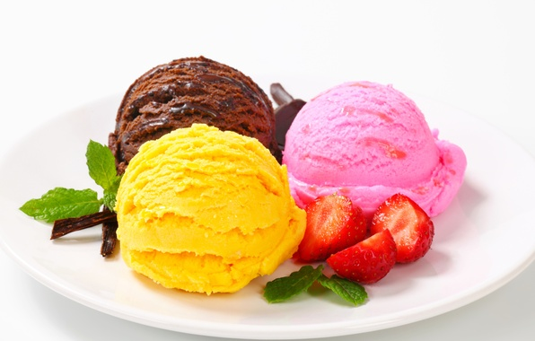 Picture balls, berries, strawberry, plate, ice cream, sweets, dessert, sweet, chocolate, cuts
