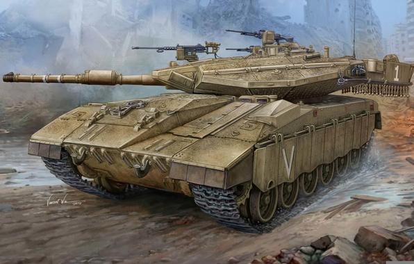 Picture chariot, gun, art, tank, Merkava, mark, caliber, combat, tanks, series, 120 mm, Mk III D, …