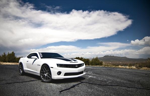 Picture white, clouds, mountains, white, Chevrolet, chevrolet, camaro ss, Camaro