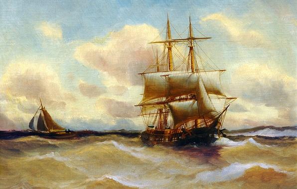 Picture sea, wave, the sky, landscape, storm, boat, ship, picture, sails, Alfred Jansen