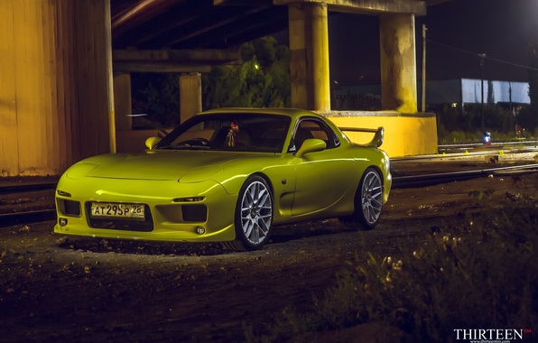Picture machine, auto, coupe, Mazda, before, Mazda, yellow, auto, RX-7, RX7