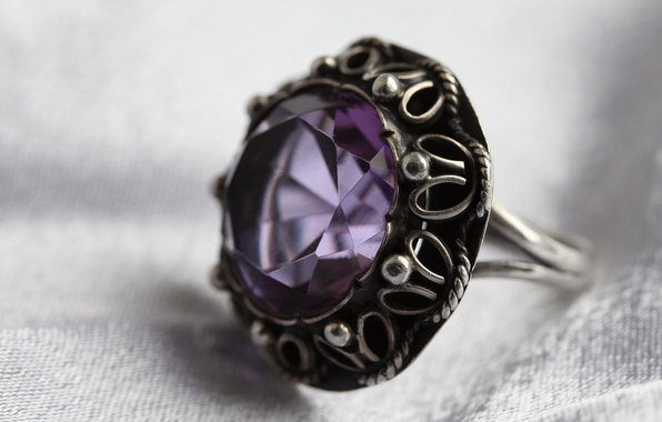 Picture decoration, silver, ring, stone.amethyst