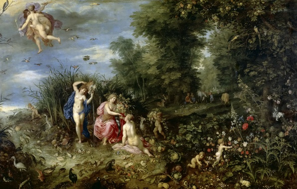 Picture flowers, nature, picture, mythology, The Four Elements, Jan Brueghel the younger