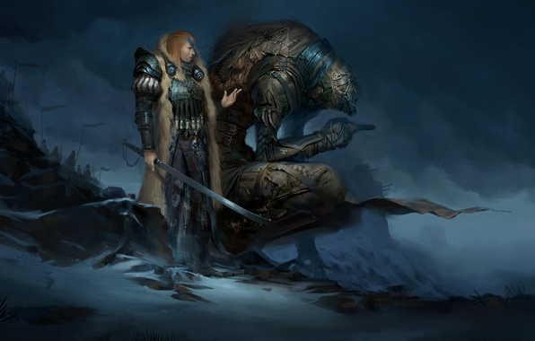 Picture girl, clouds, rocks, monster, sword, army, art, gloomy, History of the northern lands, Glenyr Perforth