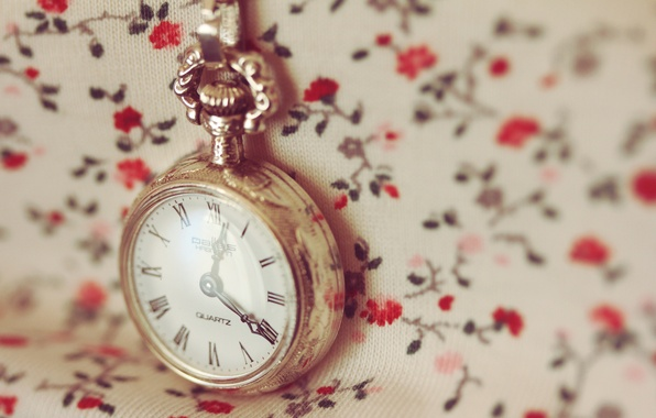 Picture macro, time, Wallpaper, watch, dial, chain, flowers
