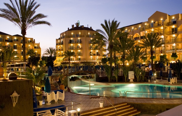 Picture palm trees, the pool, the hotel, architecture, the bridge, resort, Spain, Spain, evening., pools