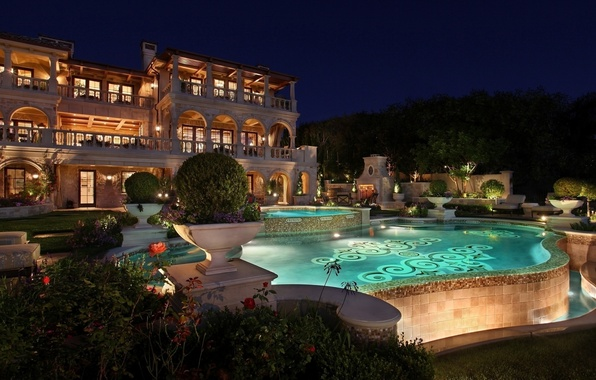 Picture flowers, night, house, interior, pool, Jacuzzi, architecture, pool, the bushes, interior, trees.