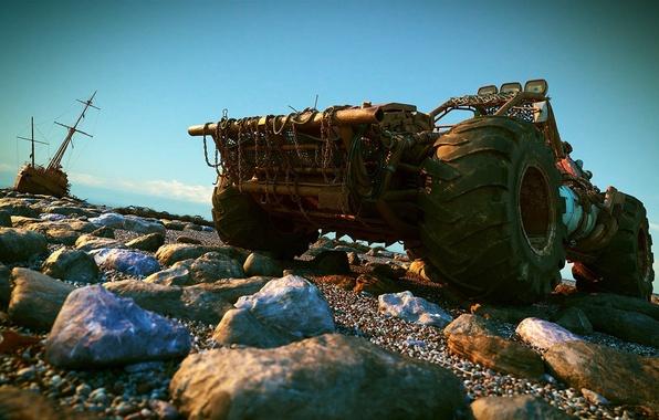Picture stones, boat, SUV