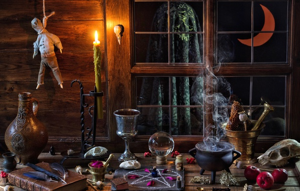 Picture magic, apples, skull, ball, candle, a month, feathers, window, bowler, book, bulb, pentagram, Cup, Halloween, …