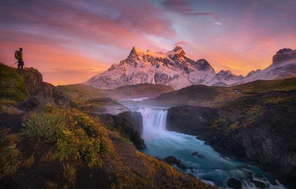 Picture landscape, river, dawn, mountain