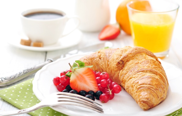 Picture coffee, Breakfast, strawberry, cakes, growing, breakfast, croissant