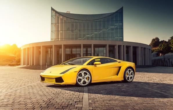 Picture the sun, yellow, Lamborghini, Gallardo, Blik, Lamborghini, yellow, Gallardo