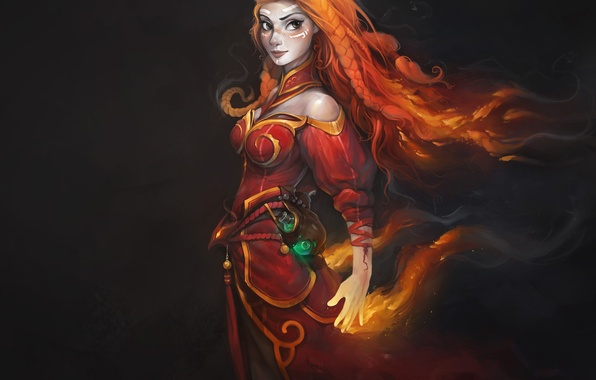 Picture girl, flame, magic, sparks, DotA, Defense of the Ancients, Lina Inverse