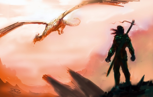Picture the sky, flight, weapons, fiction, dragon, sword, warrior, art