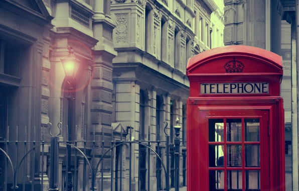 Picture light, city, the city, house, lantern, light, house, london, phone booth, lamp, call-box, 1920x1286