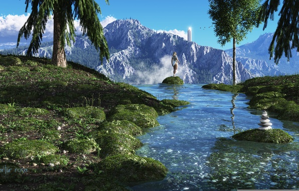 Picture girl, trees, mountains, river, stream, stone, view, tower, pyramid, stones, render, ridge