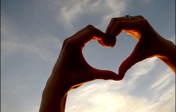 Picture the sky, love, sign, heart, hands, love, feeling