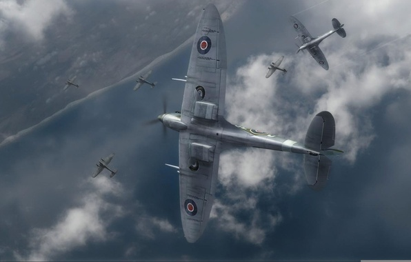 Picture coast, graphics, art, Spitfire, the side, Supermarine, he-111, the English fighter, battle of Britain